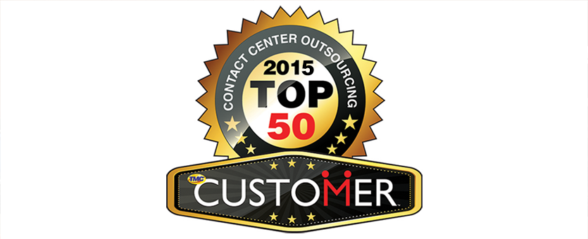CUSTOMER Magazine's Top 50 Contact Center Outsourcing badge for 2015