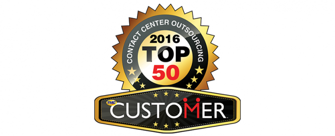 CUSTOMER Magazine's Top 50 Contact Center Outsourcing badge for 2016