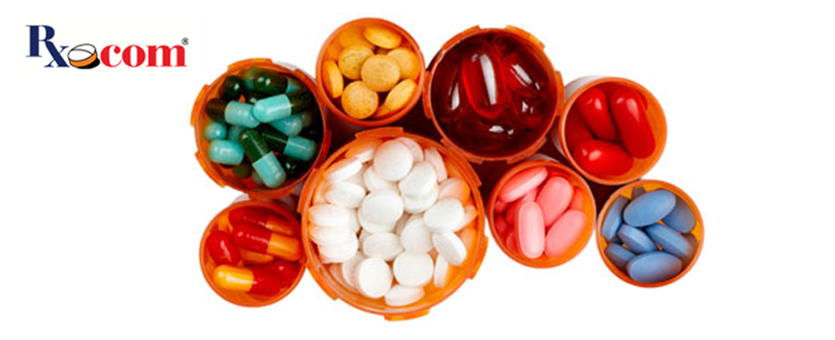Various bottles full of pills, viewed from above, with the Rx dot com logo