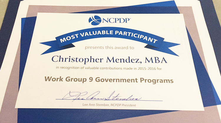 The certificate awarded to Christopher Mendez as the Government Programs Work Group Most Valuable Participant by the National Council for Prescription Drug Programs