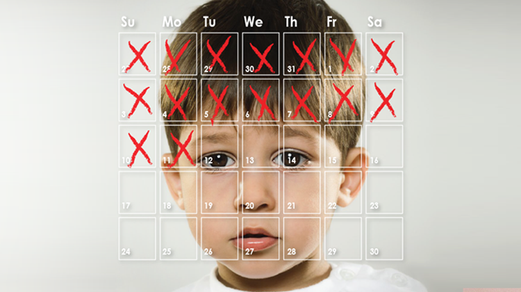 Photo of a young boy's face superimposed with a calendar showing half the days marked off with red x's
