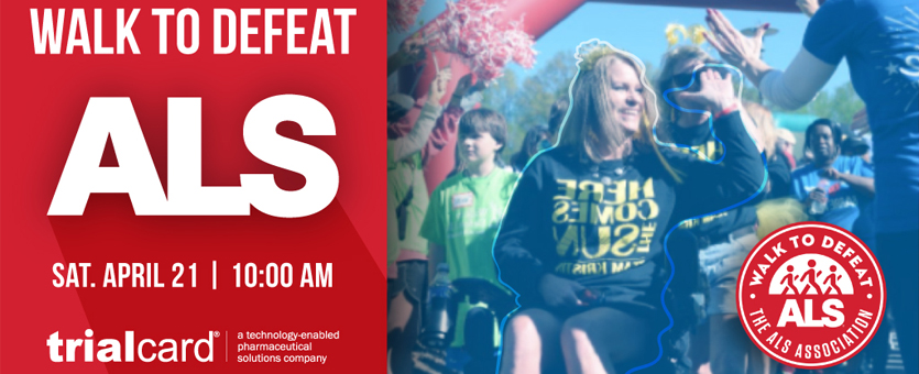 "A woman in a wheelchair high fives someone next to the words ""Walk to Defeat ALS"""