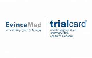 Logos for EvinceMed and TrialCard