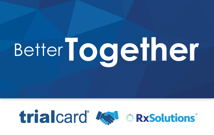 "A header image showing the TrialCard and RxSolutions logos, with the words ""better together"""